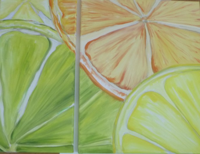 Citrus Melody, Diptych (oil on canvas, 26x20) - $400