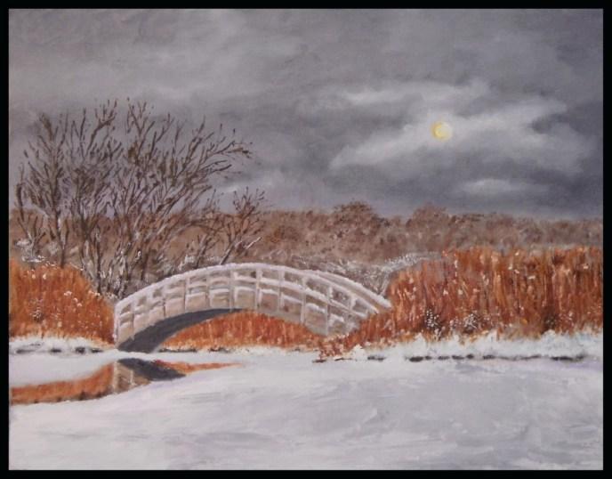 Arch Bridge in Winter (oil on canvas panel, 11x14) - NFS