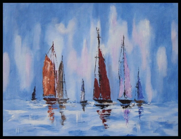 Sailboats at Sea (oil on canvas panel, 11x14) - SOLD