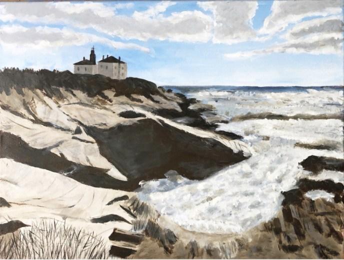 Beavertail Light (acrylic on canvas, 16x20) - Price on request
