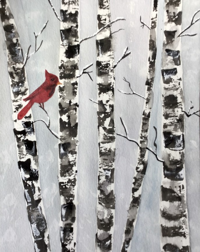 Cardinal in Birch Trees (watercolor, 8x10 on watercolor paper) - Price upon request