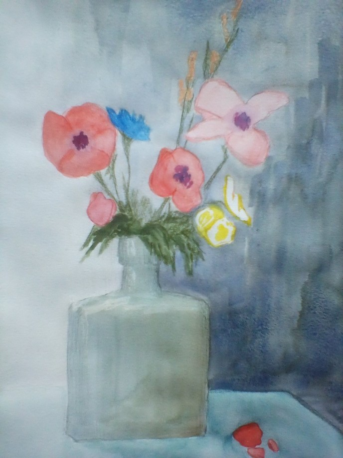 Square Bottle (watercolor), 9 x 12 - Price negotiable