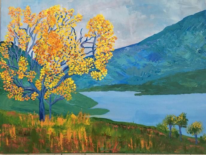 Yellow Tree (acrylic, 16x20) - NFS