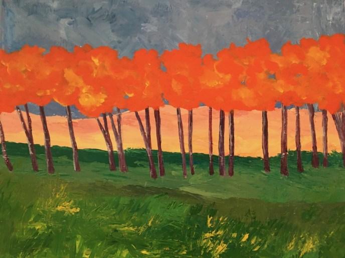 Orange Trees II (acrylic, 16x20) - Price Negotiable