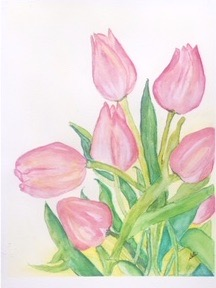 Tulips from Wicked Tulips (watercolor, 4x5) - NFS