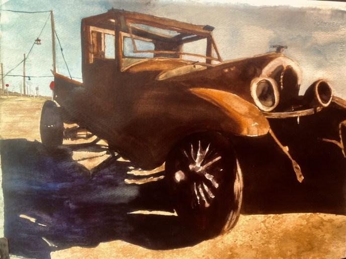 Rt 66, Texas (watercolor, 14x16) - NFS