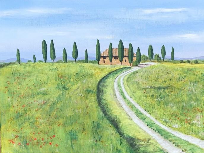 Tuscan Villa (acrylic on canvas, 11x14) - NFS