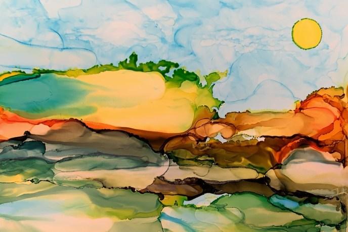 Landscape (alcohol inks on yupo, 9x6), $50