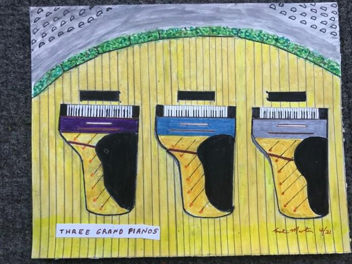 Three Grand Pianos (acrylic and pencil, 8x10) - Price Negotiable