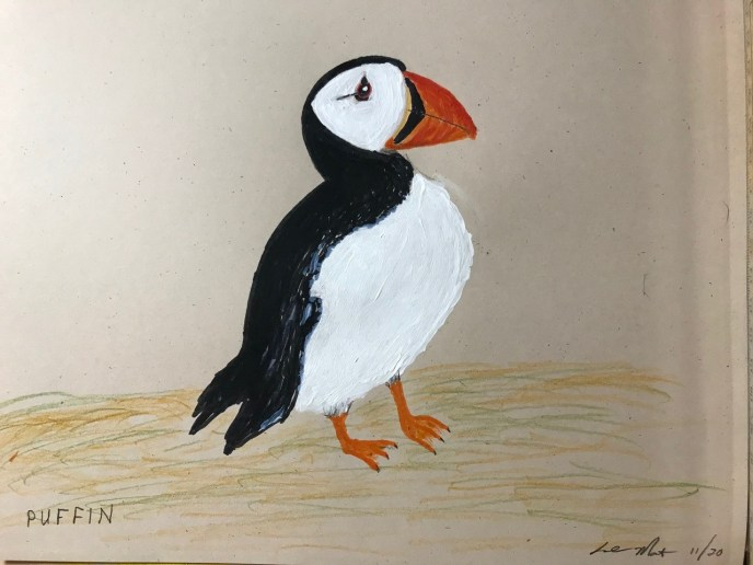 Puffin (acrylic, pen brush on paper), 9 x 11 - Price negotiable