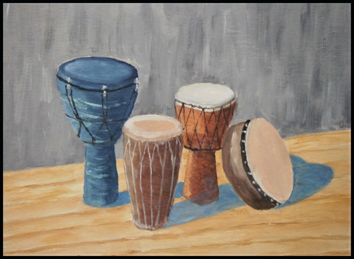 Hand Drums (oil on canvas panel, 9x12) - $60