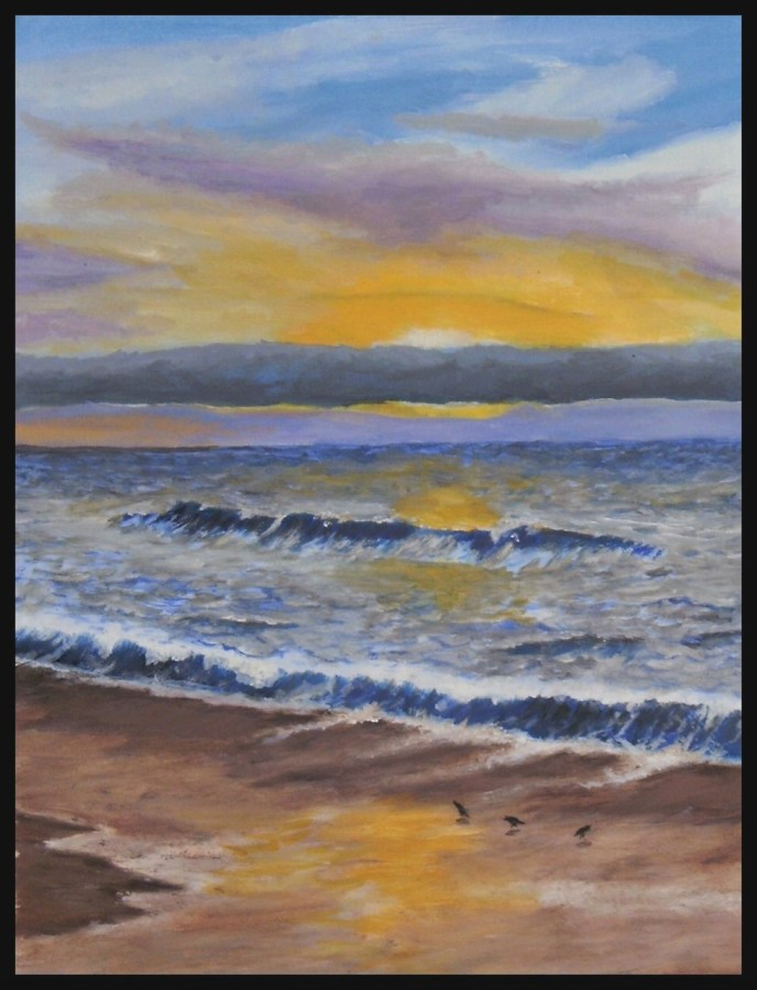 Sanderlings at Sunset (oil on paper, 12x16) - Price Negotiable