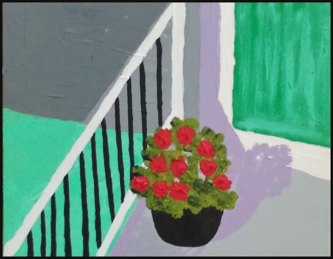 """Geraniums"" (acrylic on panel) - $50"