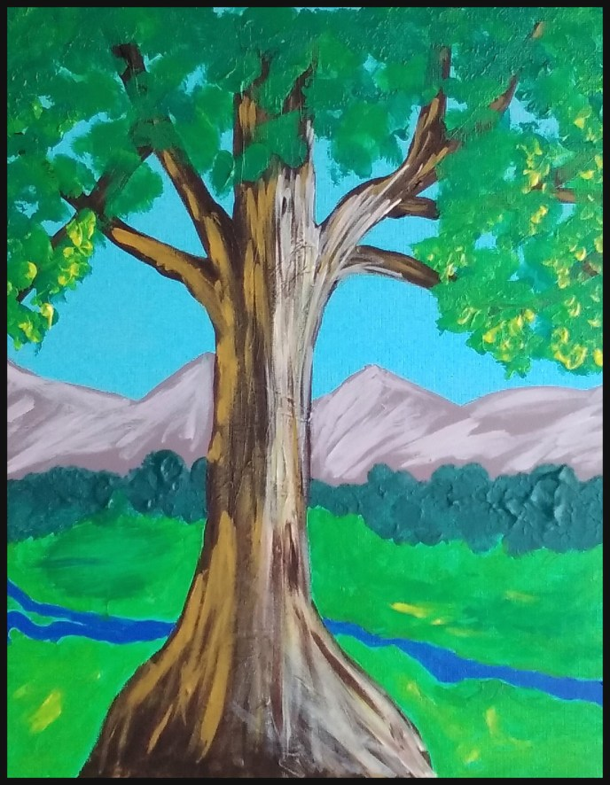 """Tree and Mountains"" (acrylic on panel) - $50"