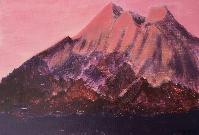 Sunset on a Snowy Mountain (acrylic on canvas board, 8x10) - Price Negotiable