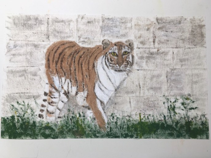 """On the Prowl (acrylic on canvas panel), 8 3/4"""" x 5 3/8"""" - Price negotiable"""