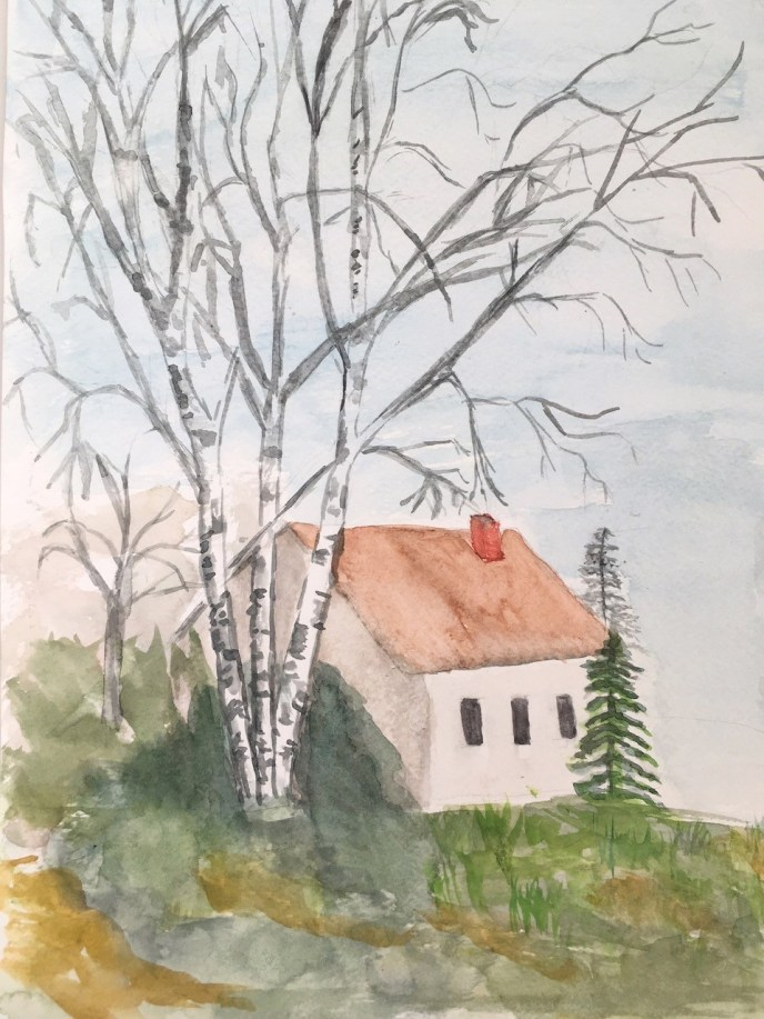 Winter at the Cottage (watercolor, 9x12) - NFS