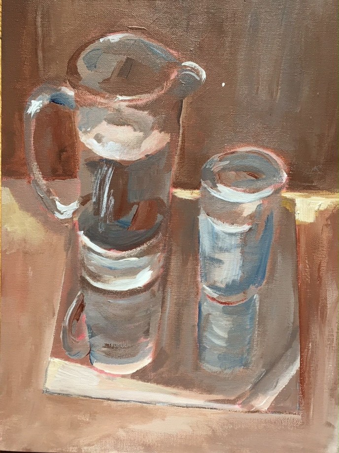 Study of Reflections: Water and Glass (acrylic, 12x16) - NFS