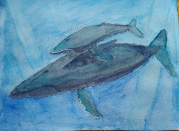 Mother Whale and Calf (watercolor and gouache, 9x12) - NFS