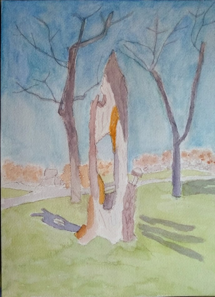 Rotted Tree w/ Carved Mushroom on Blackstone Blvd (watercolor and gouache, 9x12) - NFS