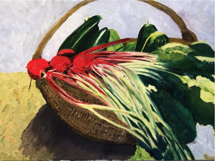 Janet's Produce Basket (oil on canvas), 16 x 20 - Price upon request