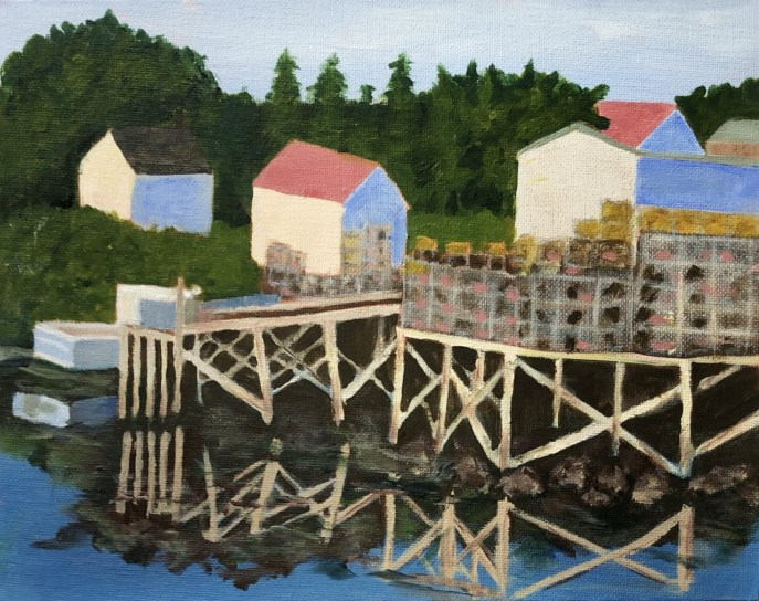 Shape and Form: Port Clyde, Maine (acrylic on canvas board, 8x10) - NFS