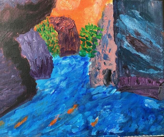 View into Paria Canyon (acrylic, 8x10) - NFS