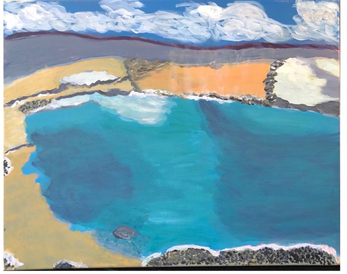"""Hot Springs at Yellowstone"" (acrylic) - NFS"