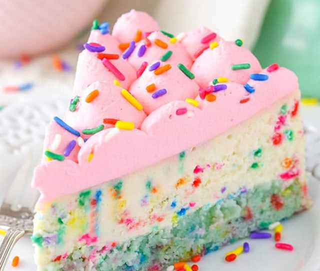 Funfetti Cheesecake With Cake Bottom Thick And Creamy Cheesecake With A Cake Bottom So