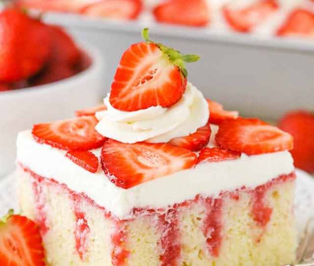 This Strawberry Poke Cake Is A From Scratch Vanilla Cake Covered With Sweetened Condensed Milk