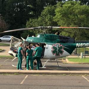 LifeNet Air Helicopter Medical Ambulance at CHI St. Vincents Hospital in Hot Springs, AR