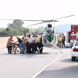LifeNet Air Medical Helicopter in highway Texarkana