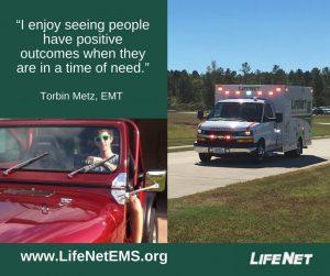 Torbin Metz, EMT, LifeNet EMS in Stillwater, Oklahoma