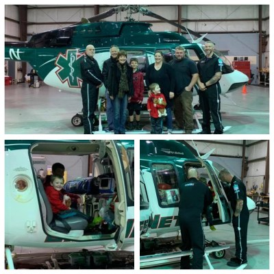 LifeNet Air 2 medical helicopter crew meets young boy whose life they helped save during a patient meet and greet.