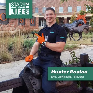 Hunter Poston named 2019 Star of Life for his work as an EMT at LifeNet EMS in Stillwater, Oklahoma.