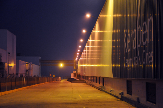 Keraben, ceramic tile factory, spainish tile, factory at night