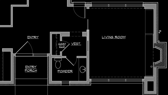 Toilets by the front door life of an architect for Powder room layout