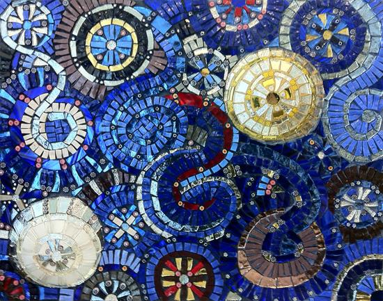Sample of hand cut Mosaic Wall