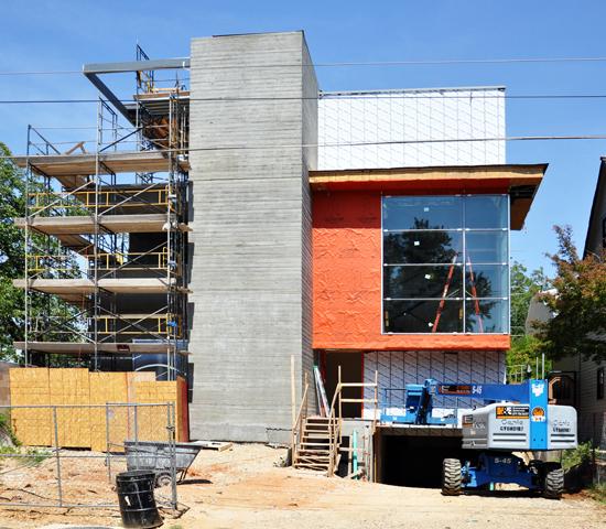 zinc siding on modern infill house