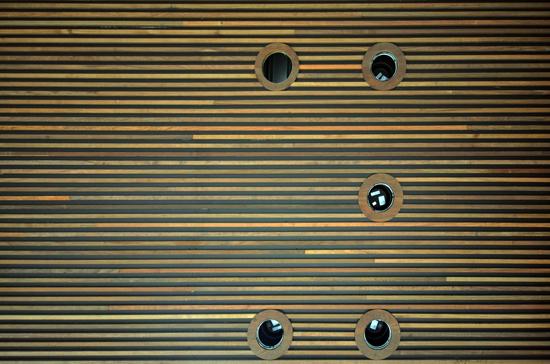 Exterior Ceiling - Ipe wood strips
