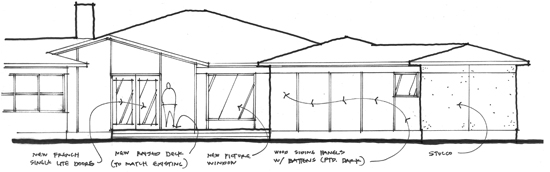 Hand sketch West Elevation