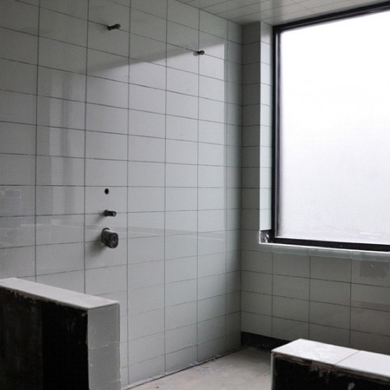 modern house glass tile bathroom shower