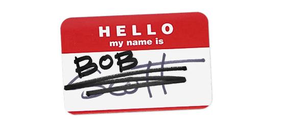 Bob Borson - name tag