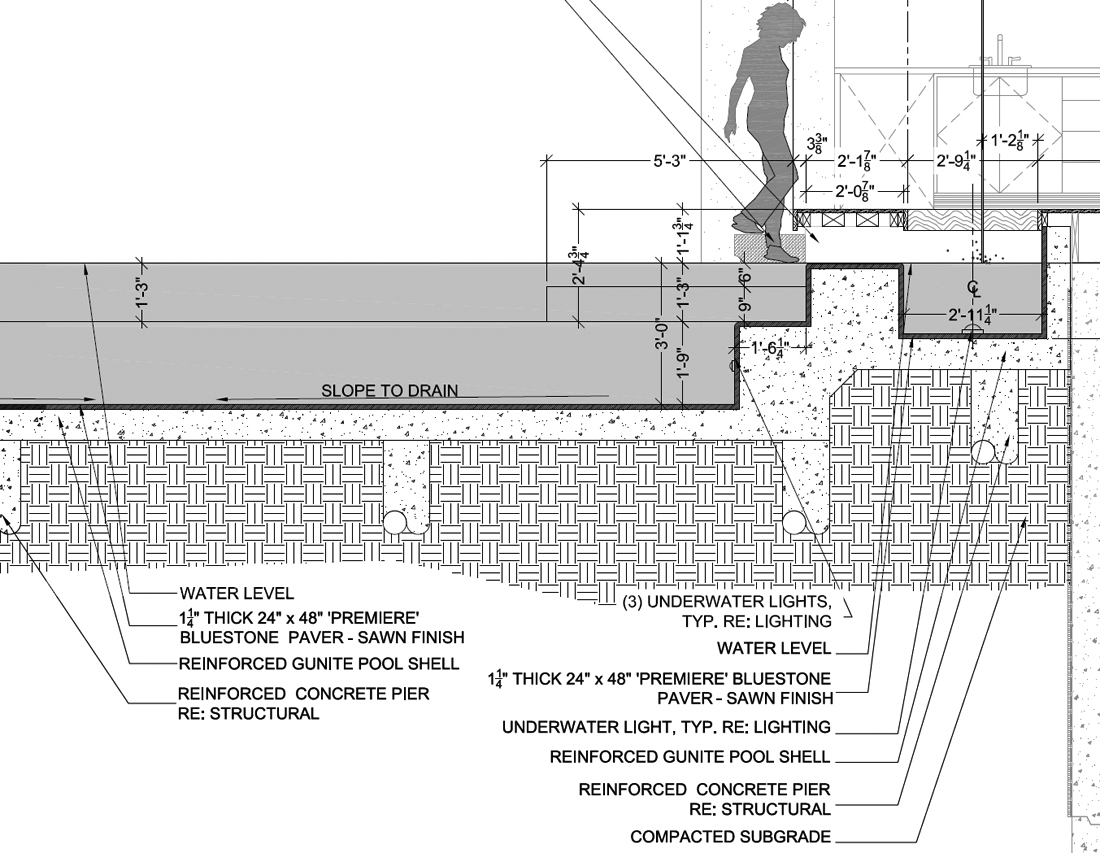Pool detail drawing for Swimming pool construction drawings