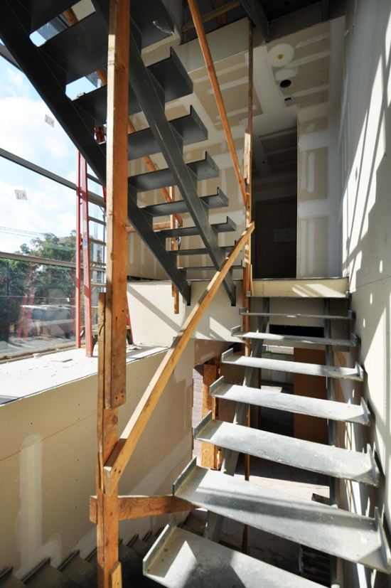 modern steel stairs - temporary handrails