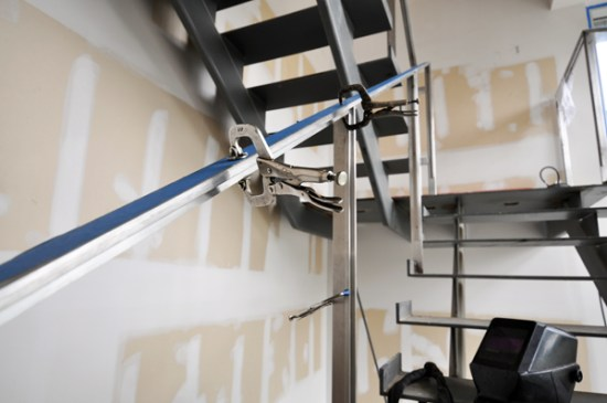 modern stairs - stainless steel glazing stops