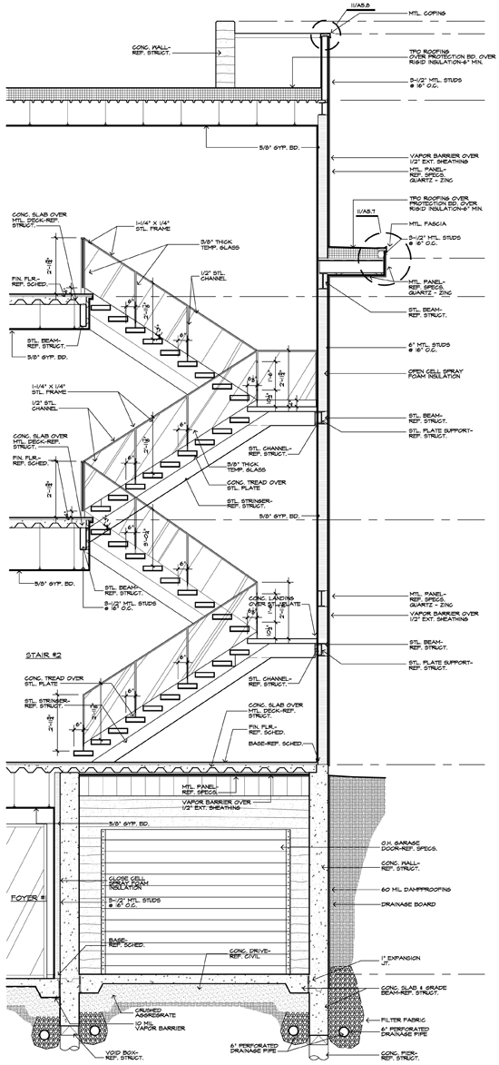 Architectural graphic standards life of an architect modern stair construction drawing and detail malvernweather Gallery