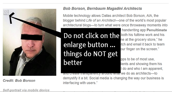 Bob Borson Architect Magazine photo text box with bar