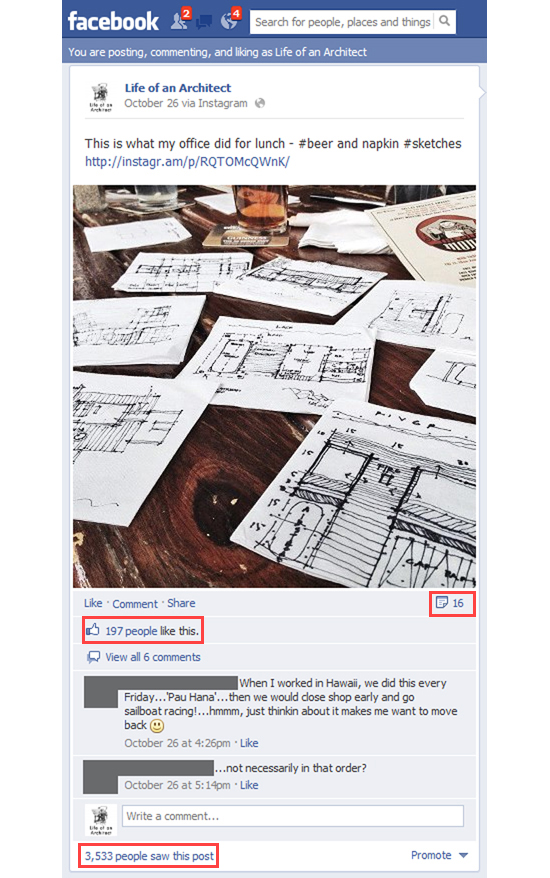 Life of an Architect Facebook Fan Page screen shot