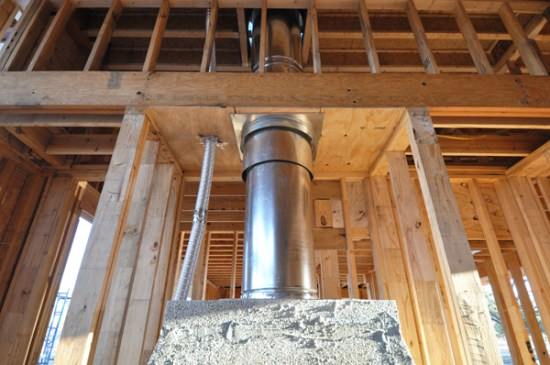 Fireplace flue in Game Room